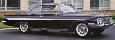 The Chevrolet Impala often topped the full-size Chevy line. Here is a 1961 model. See more pictures of classic cars.