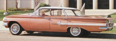The 1960 Chevrolet Impala Sport Sedan hardtop had a panoramic rear window.