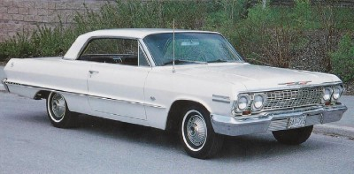 The 1963 Chevrolet Impala Sport Coupe had crisp and angular styling.