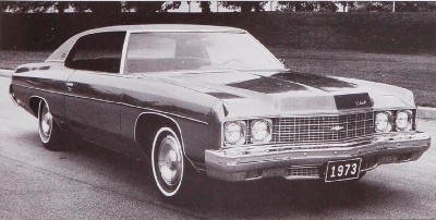 Front bumpers on the 1973 Chevrolet Impala and other full-size Chevys protruded because of the new federal mandate to withstand a 5-mph impact.