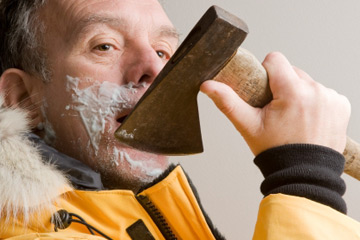 shaving with an ax