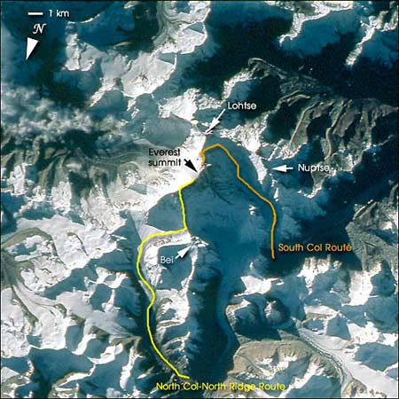 the two most common routes up everest: the south col and the north col-