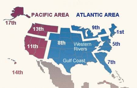 This map shows the location of all nine distrincts of the Atlantic and Pacific Coast Guard commands.