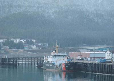 The United States Coast Guard Cutter bouy tender Maple moors in Juneau, Alaska, for a scheduled port visit.