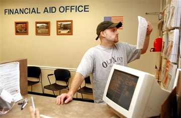College student in financial aid office.