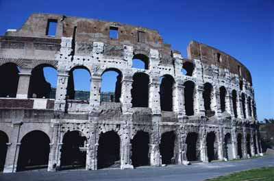 The Roman Colosseum stands more than 150 feet high and was made using concrete, a material the Romans developed.