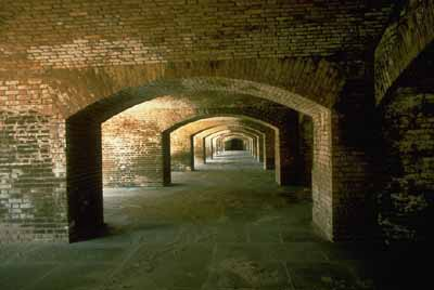 Dry Tortugas National Park encompasses Fort Jefferson, an abandoned military fort.
