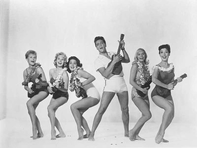 Elvis and Girls in Blue Hawaii