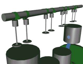 the camshaft (click on image to see animation)  see pictures of car engines