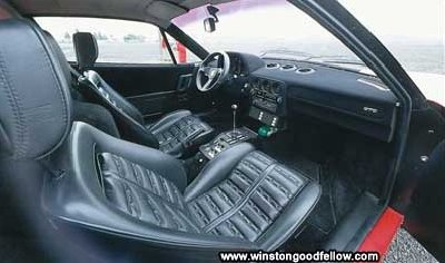 The 1985 Ferrari 288 GTO's interior.