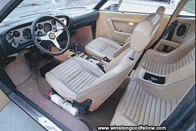 The interior of the 1975 Ferrari 308 GT4.