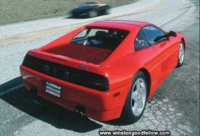 A rear view of the 1990 Ferrari 348ts.