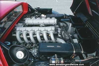 The flat-12 engine of the Ferrari 365 GT4/BB.
