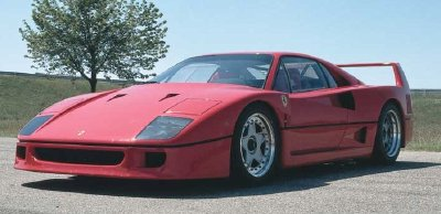 The body of the 1988 Ferrari F40 was made of composites.