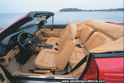 The luxurious interior of the 1989 Ferrari Mondial t Cabriolet.