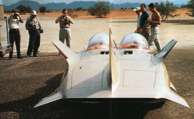 The fin-laden GM Motorama Firebird III as seen from the rear.