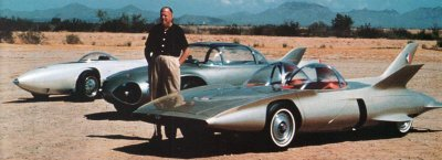 Harley Earl with the assorted prototypes produced while developing the GM Motorama Firebird III.