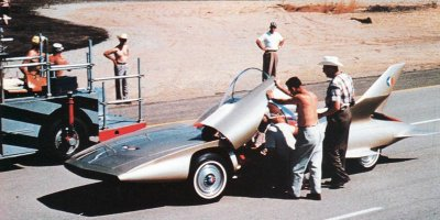 The GM Motorama Firebird III preparing to perform on GM's Mesa, Arizona, proving grounds.