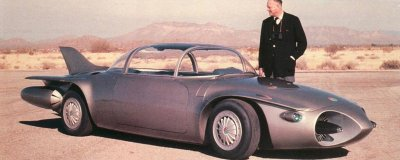Earl Harley admires the GM Motorama Firebird II.