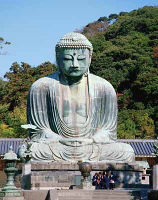 The Great Buddha measures nearly 40 feet high and 30 feet from knee to knee.