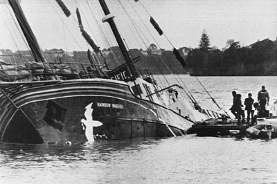 The Rainbow Warrior after an attack