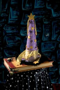 A mystical wizard's hat sets the tone for your Halloween celebration.