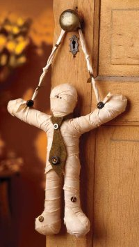 This little mummy loves to hang around -- especially on Halloween!