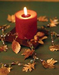 Colorful leaf garland is a versatile Halloween decoration.