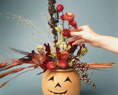 Add additional dried flowers to your floral jack-o'-lantern Halloween decoration's flowery display.