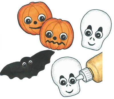 Glue eyes to the foam shapes to bring your Halloween mobile to life.