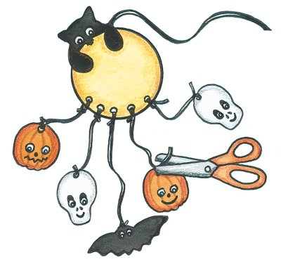 Cut ribbons to hang shapes from your Halloween mobile, then trim the ribbons on your finished Halloween decoration.