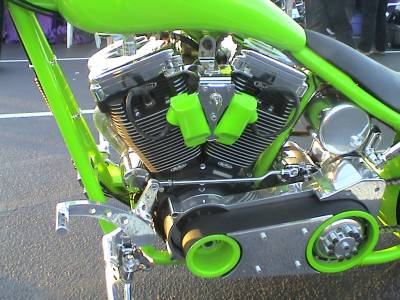 the two-cylinder V engine of a Harley-like custom motorcycle