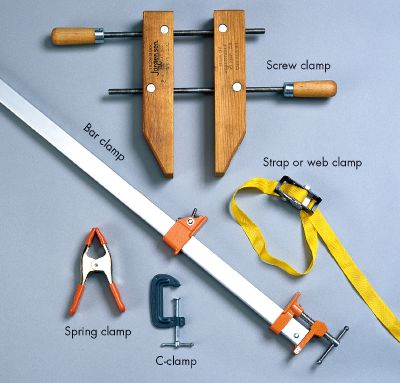 Clamps are essential for home-repair projects.