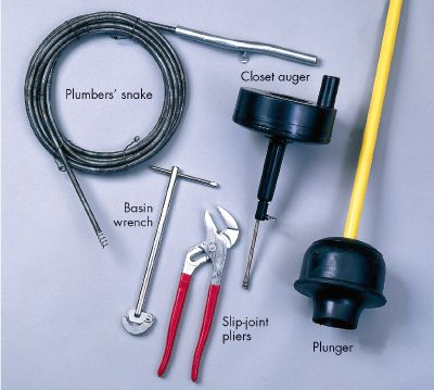 Plumbing tools such as these can be used for most jobs.