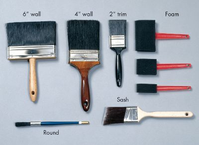 Paintbrushes can be bristle or foam.