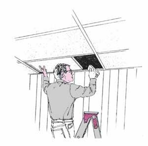Devise a hiding place for valuables in an acoustical ceiling.