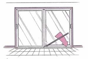 A pipe or metal bar can be used to burglar-proof a patio door.