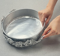 All springform pans leak a little bit. Wrapping with foil prevents the batter from spilling out.