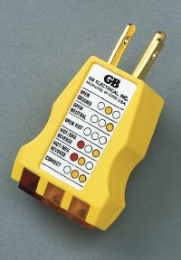A plug-in polarity checker can be used to test your electrical receptacles for polarity.