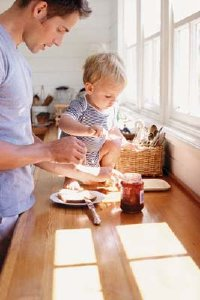 Your baby needs a secure seat to eat his meals, not the countertop.