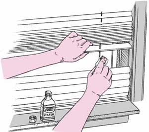 Use white shoe polish to touch up dingy white tapes on venetian blinds.