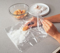 Adding light, dry coatings by shaking the chicken in a sealed plastic bag, saves on cleanup.