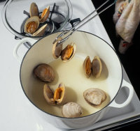 Removed the clams from the water with a pair of tongs to avoid burns.
