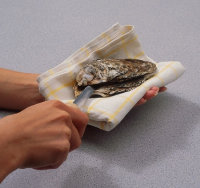 Twist your knife to pry the oyster shell apart.