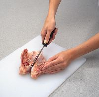Use a sharp knife or kitchen shears to cut through the cartilage.