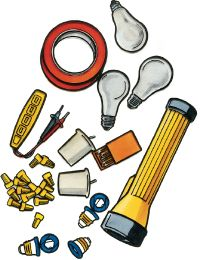 An emergency blackout kit consists of numerous items.