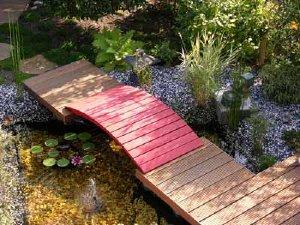 Water gardens attract attention in a landscape garden design.