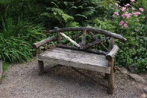 A bench in the garden adds to its beauty.