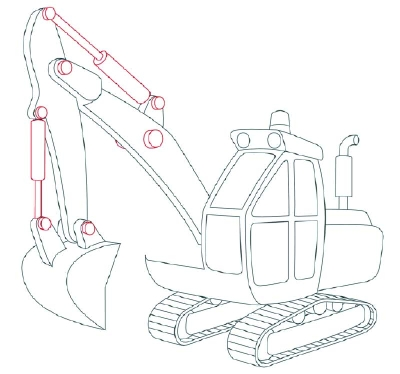 9 Add The Hydraulics How To Draw Excavators In 11 Steps