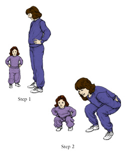 Exercises for your toddler's third year include Squat Bend.